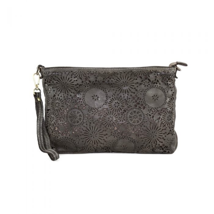 CLAUDIA Laser Clutch Wristlet Bag Dark Taupe