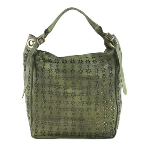 GIULIA Hobo Bag With Star Laser Detail Army