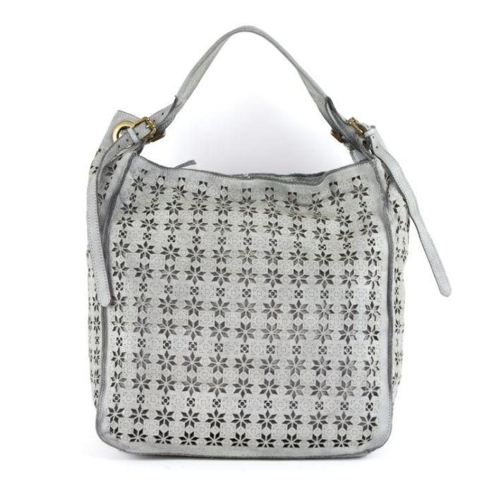 GIULIA Hobo Bag With Star Laser Detail Light Grey