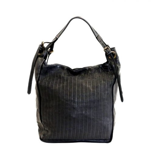 GIULIA Hobo Bag With Moon Laser Detail Black