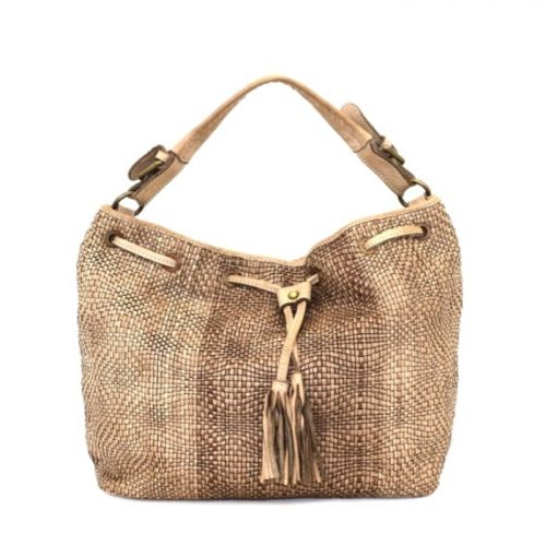 ELENA Bucket Bag With Tassels Beige