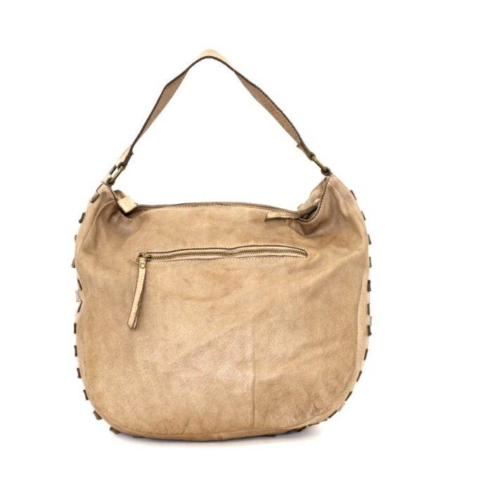 ANGELA Hobo Bag With Studded Border Light Taupe