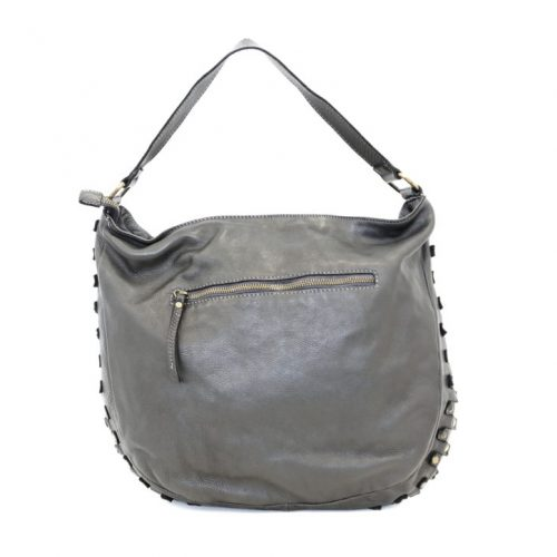 ANGELA Hobo Bag With Studded Border Black