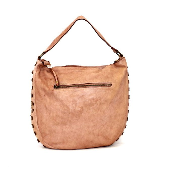 ANGELA Hobo Bag With Studded Border Blush