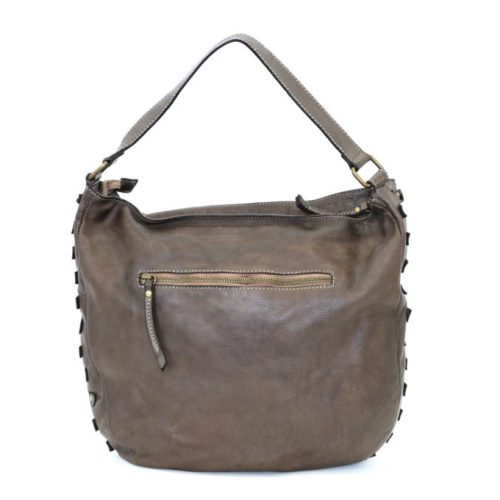 ANGELA Hobo Bag With Studded Border Dark Brown