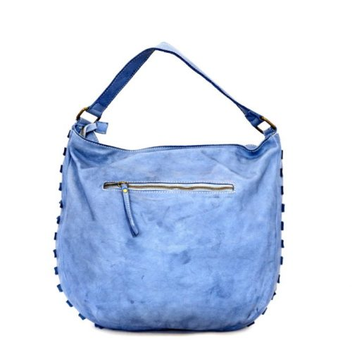 ANGELA Hobo Bag With Studded Border Denim