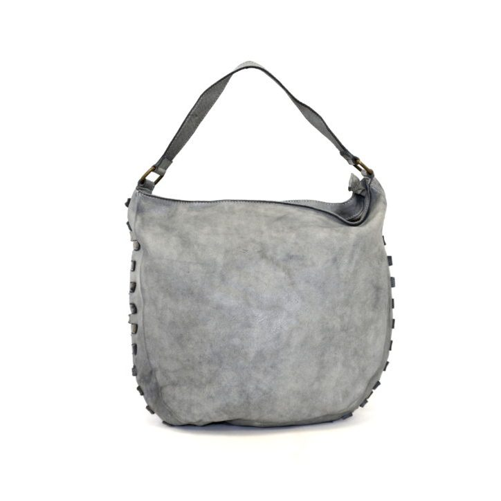 ANGELA Hobo Bag With Studded Border Grey