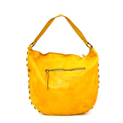 ANGELA Hobo Bag With Studded Border Mustard