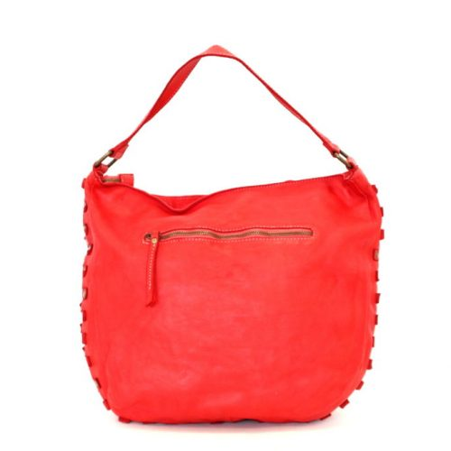 ANGELA Hobo Bag With Studded Border Red