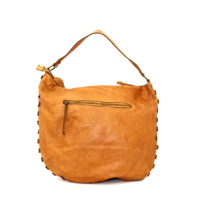 ANGELA Hobo Bag With Studded Border Tan
