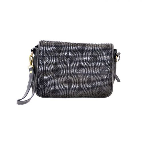 SILVINA Wave Weave Cross-body Bag Black