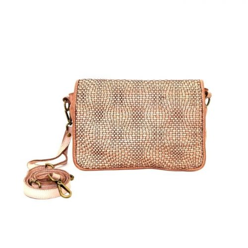 SILVINA Wave Weave Cross-body Bag Blush
