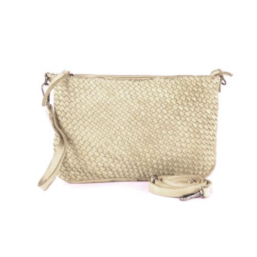 CLAUDIA Woven Clutch Wristlet Bag Beige