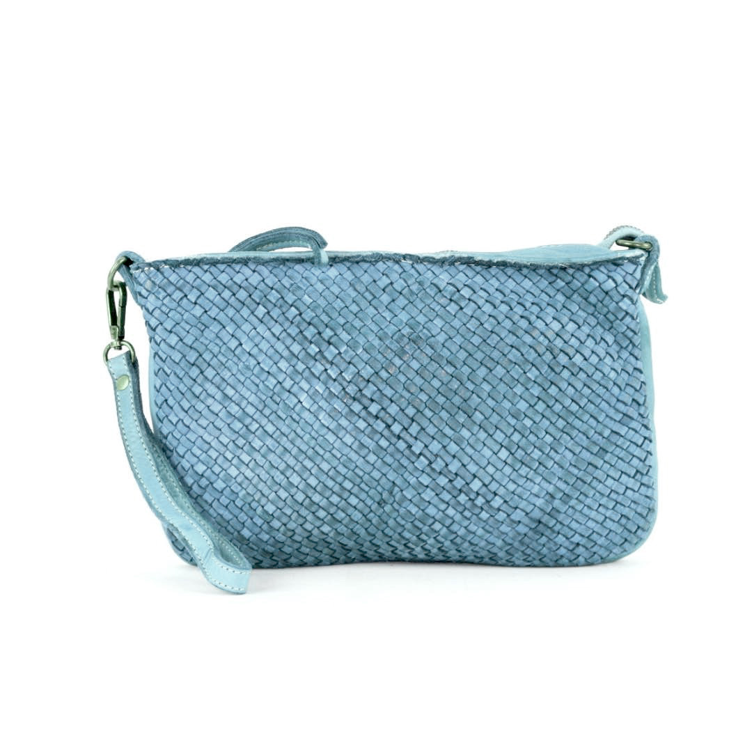 CLAUDIA Woven Clutch Wristlet Bag Denim