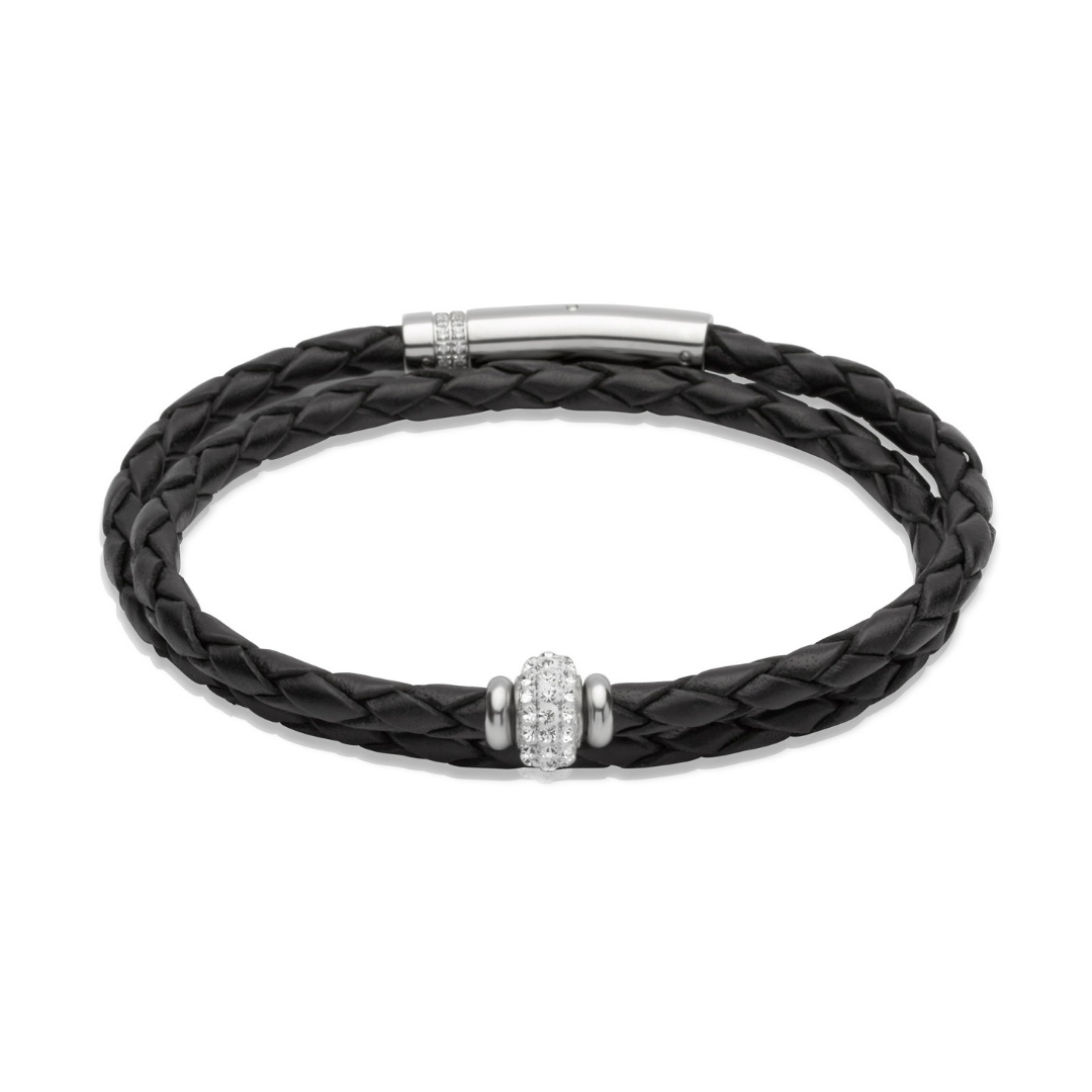 Unique & Co Women's Leather Bracelet With Crystal Bead Silver Black