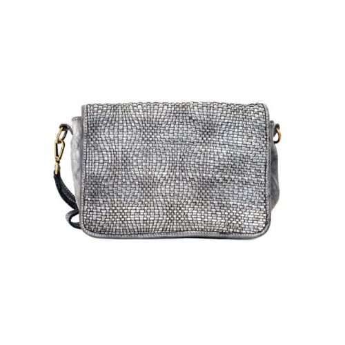 SILVINA Wave Weave Cross-body Bag Light Grey