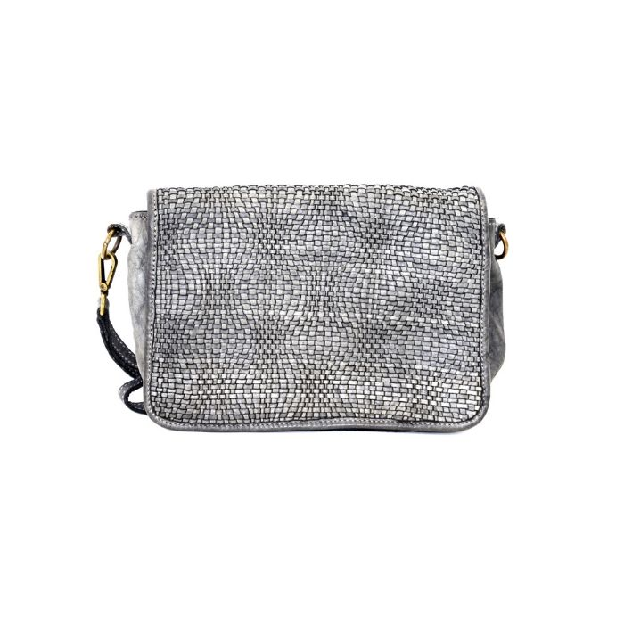 SILVINA Woven Cross-body Bag Light Grey