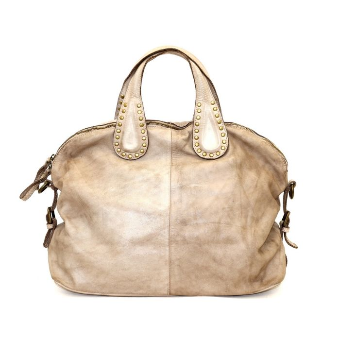 LILIANA Handbag With Studded Handle Beige