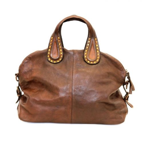 LILIANA Handbag With Studded Handle Dark Brown