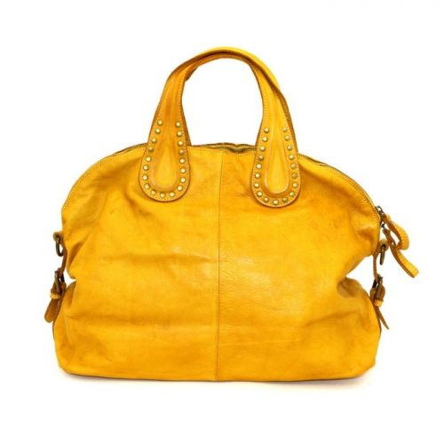 LILIANA Handbag With Studded Handle Mustard
