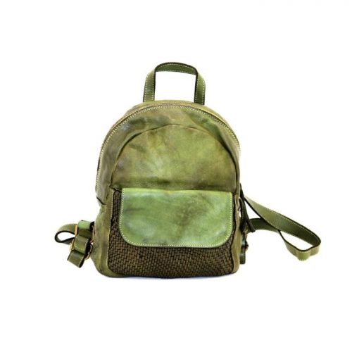 SERENA Backpack With Woven Front Pocket Army Green