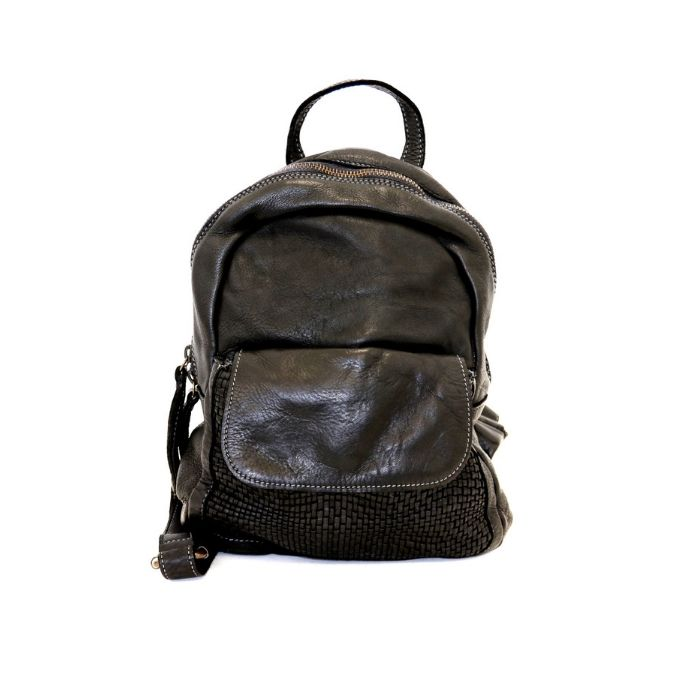 SERENA Backpack With Woven Front Pocket Black