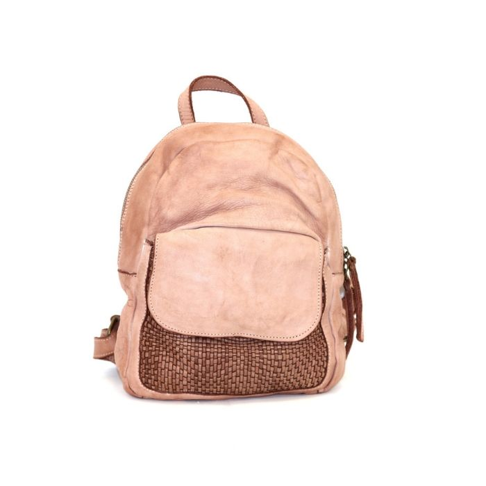 SERENA Backpack With Woven Front Pocket Blush