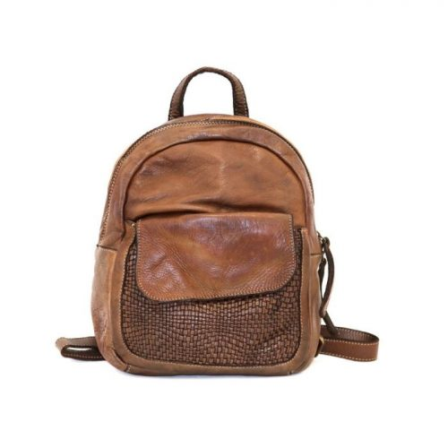 SERENA Backpack With Woven Front Pocket Dark Brown