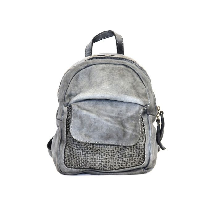 SERENA Backpack With Woven Front Pocket Light Grey