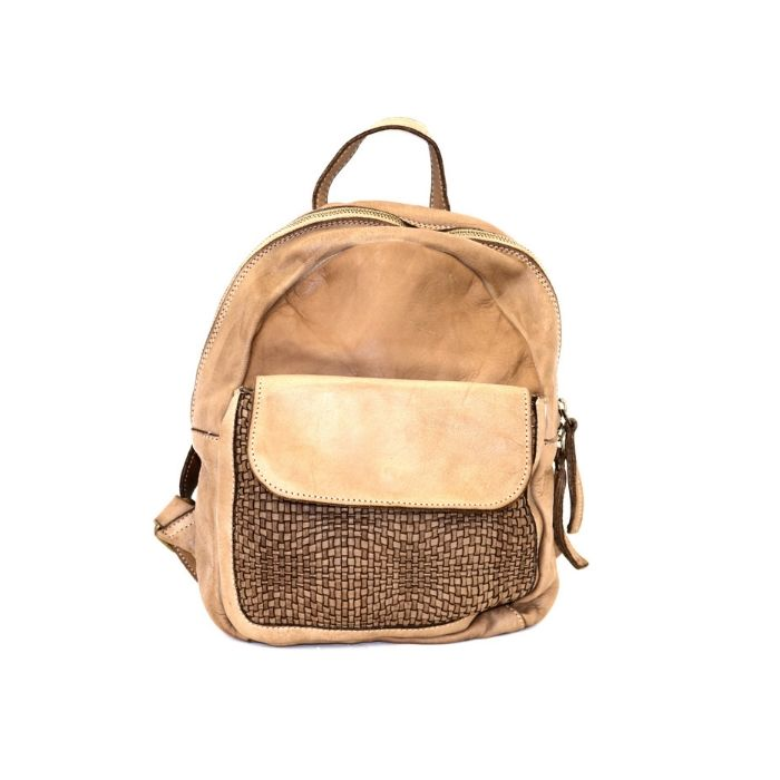 SERENA Backpack With Woven Front Pocket Beige