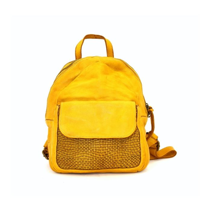SERENA Backpack With Woven Front Pocket Mustard