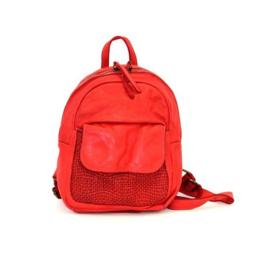 SERENA Backpack With Woven Front Pocket Red