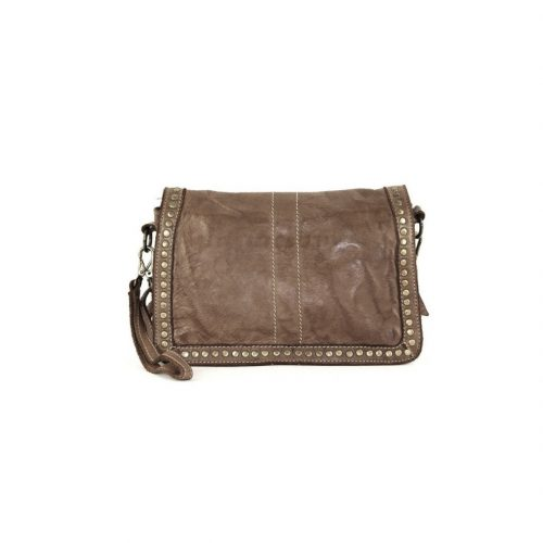 SILVINA Cross-body Bag With Studs Dark Brown