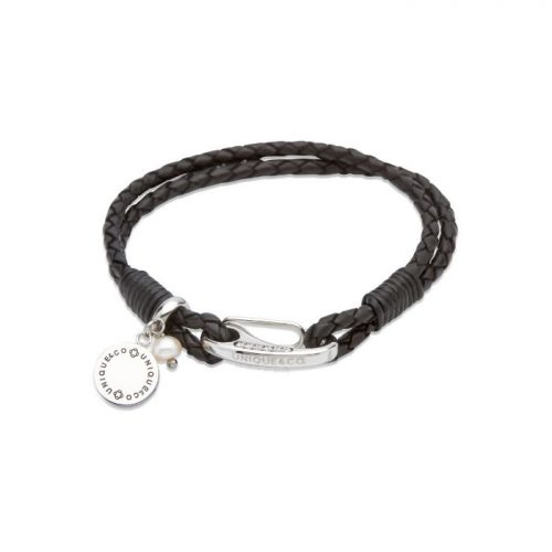 Unique & Co Women's Leather Bracelet With Disk Charm & Pearl Black
