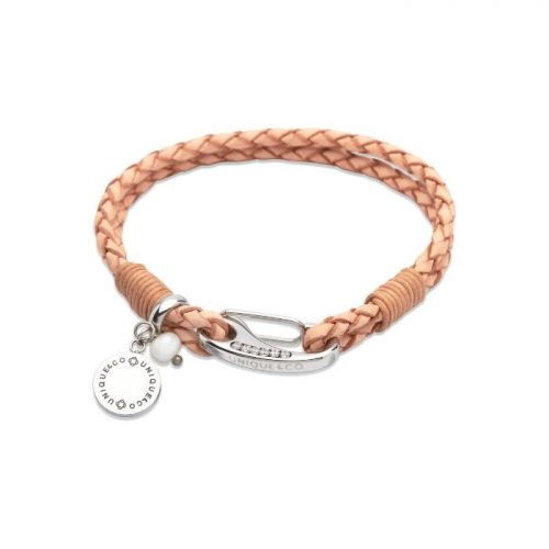 Unique & Co Women's Leather Bracelet With Disk Charm & Pearl Natural