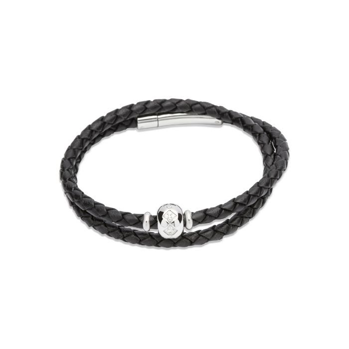 Unique & Co Women's Double Leather Bracelet With Crystal Bead Black