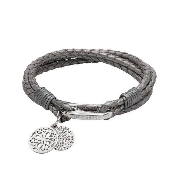 Unique & Co Women's Leather Bracelet With Round Charms Grey
