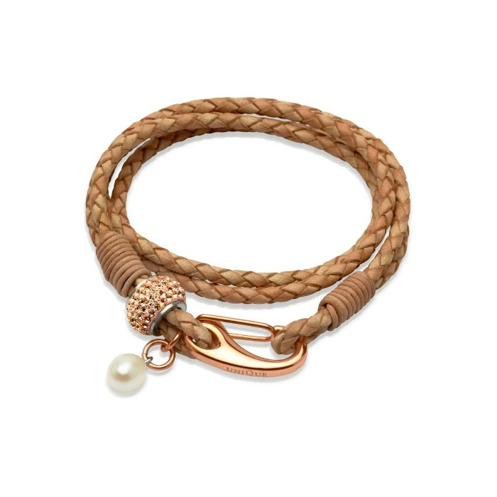 Unique & Co Women's Leather Bracelet With Crystals & Freshwater Pearl Natural