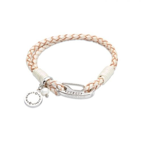 Unique & Co Women's Leather Bracelet With Disk Charm & Pearl White