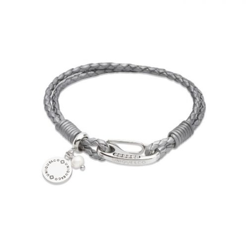 Unique & Co Women's Leather Bracelet With Disk Charm & Pearl Silver Grey