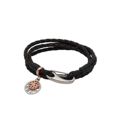 Unique & Co Women's Leather Bracelet With Flower Charms Black