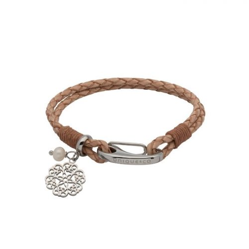 Unique & Co Women's Leather Bracelet With Flower Charm & Pearl Natural