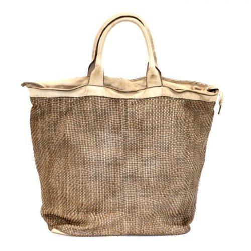 CHIARA Wave Weave Tote Bag Beige