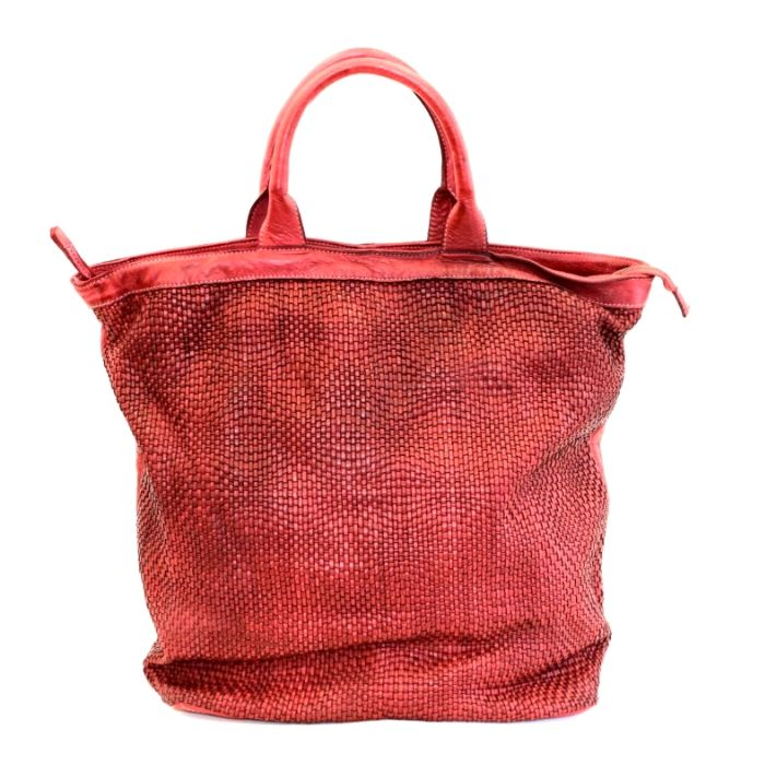 CHIARA Wave Weave Tote Bag Bordeaux