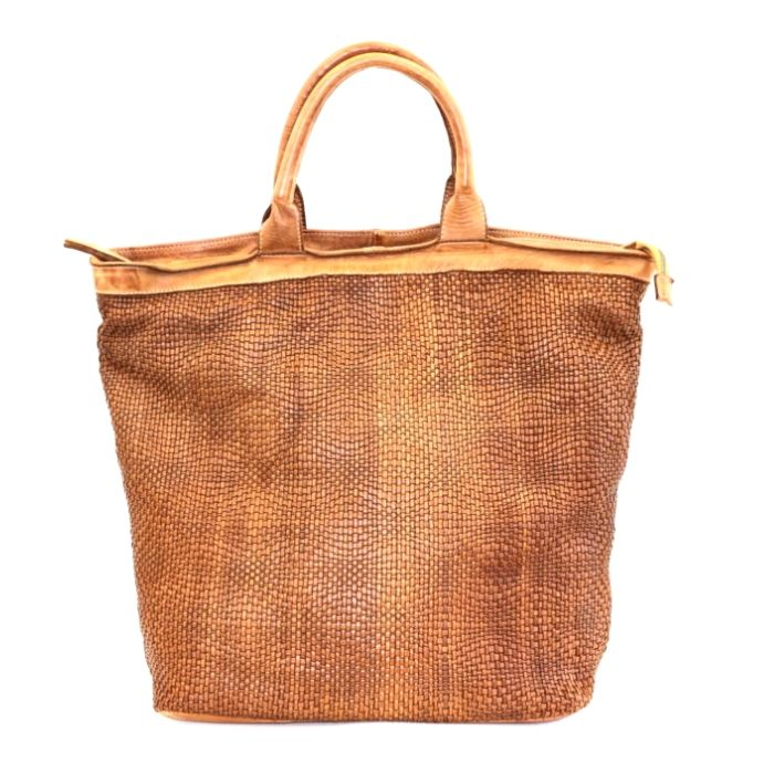 CHIARA Wave Weave Tote Bag Tan