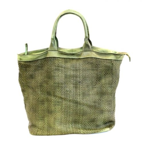 CHIARA Wave Weave Tote Bag Army