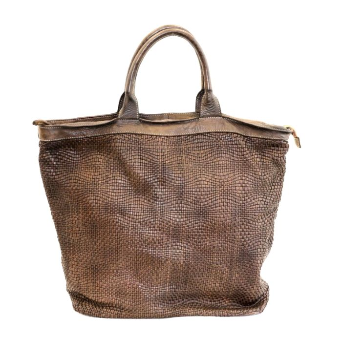 CHIARA Wave Weave Tote Bag Dark Brown