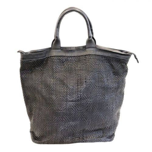 CHIARA Wave Weave Tote Bag Black