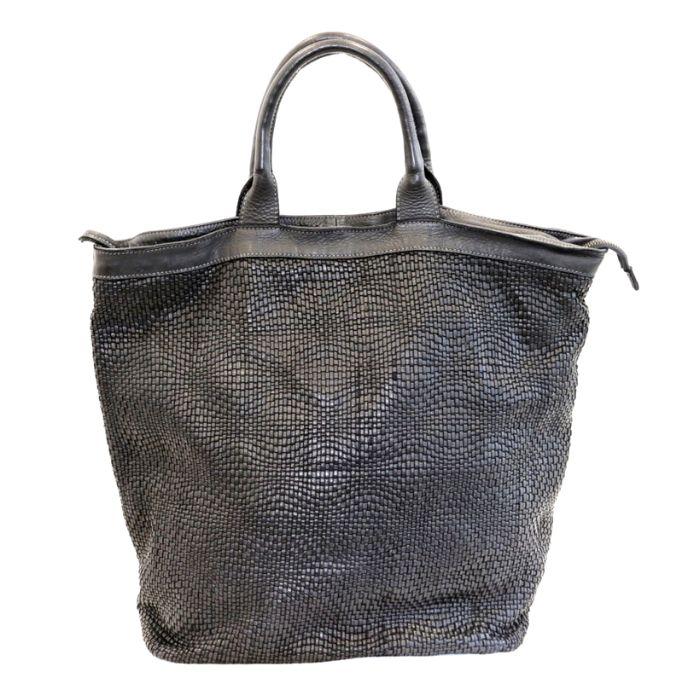 CHIARA Wave Weave Tote Bag Black