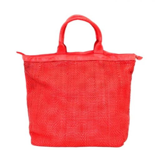 CHIARA Wave Weave Tote Bag Bright Red
